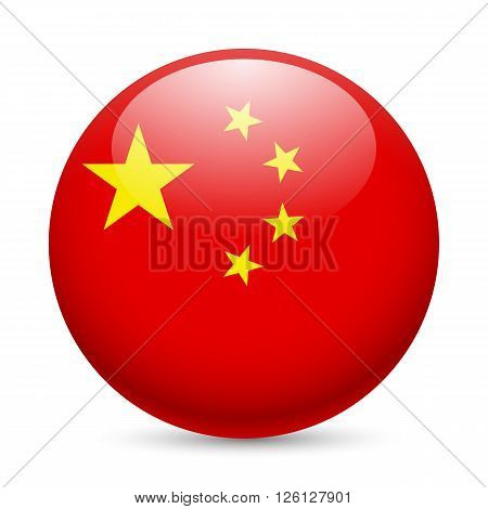 Flag of China as round glossy icon. Button with Chinese flag