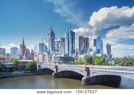 Melbourne, Australia - Oct 29, 2015: View of modern buildings in Melbourne CBD in daytime