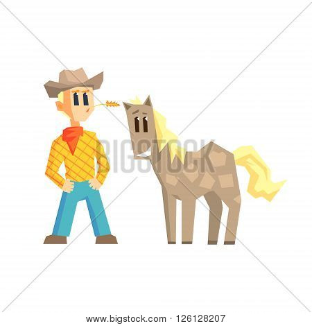 Guy And Dappled Horse Primitive Geometric Cartoon Style Flat Vector Design Isolated Illustration