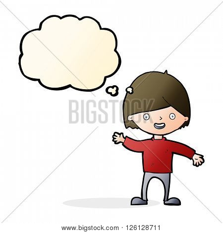 cartoon waving boy with thought bubble