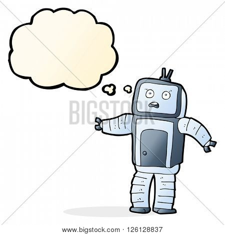 cartoon funny robot with thought bubble