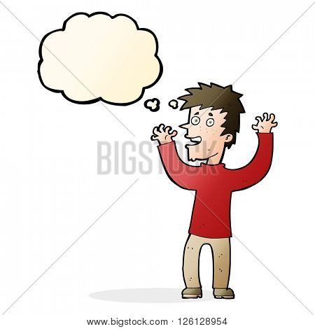 cartoon excited man with thought bubble