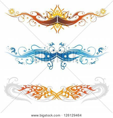 Vector set of Tribal and Tattoo. Abstract fishes, sun and fire dragon.