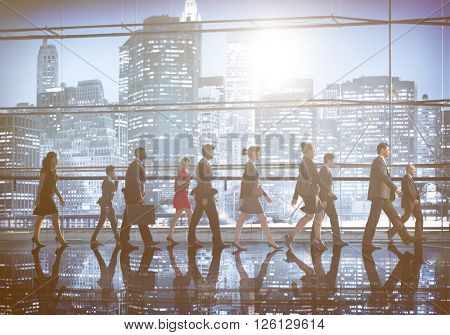 Business People Walking Commuter Rush Hour NY Concept