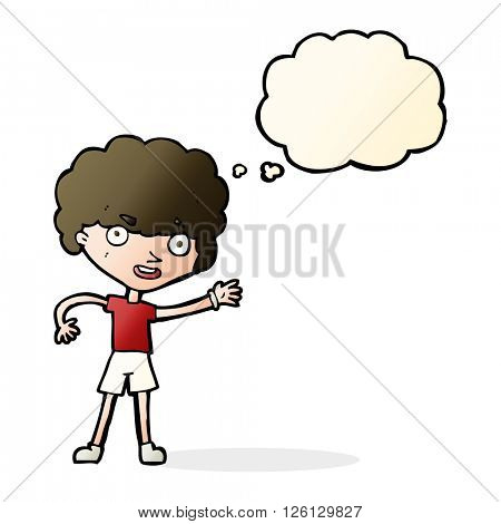 cartoon sporty person with thought bubble