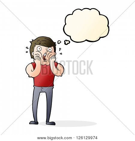 cartoon gasping man with thought bubble