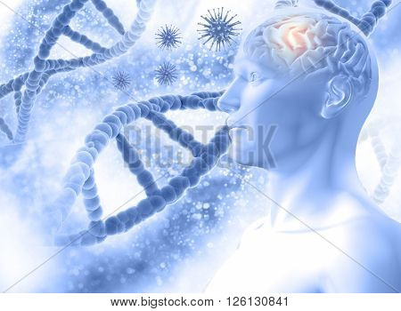 3D medical background with a male figure with brain and virus cells