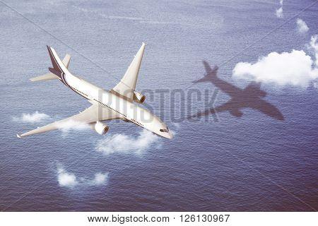Airplane Transportation Flight Flying Vehicle Blue Sky Concept