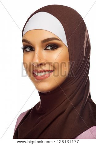 Muslim woman closeup isolated on white