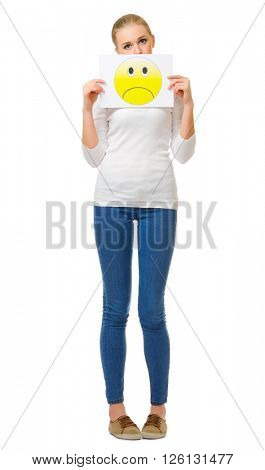 Young girl and paper sheet with sad sign isolated