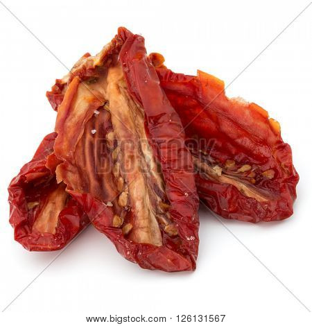 Dried tomatoes isolated on white background cutout