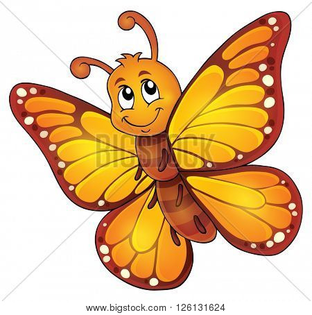 Happy butterfly topic image 1 - eps10 vector illustration.