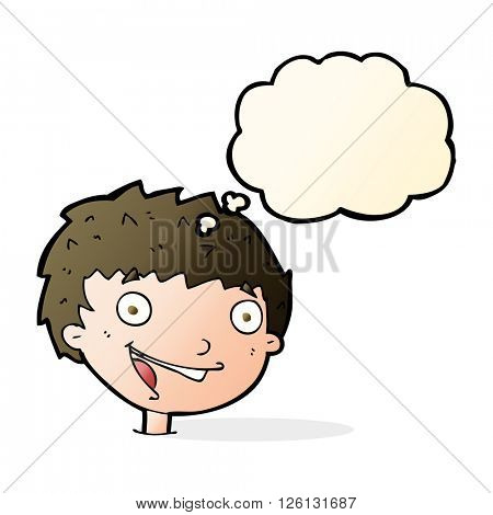 cartoon laughing boy with thought bubble