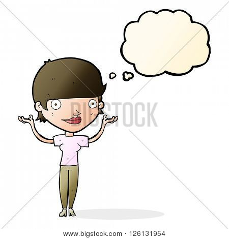 cartoon woman holding arms in air with thought bubble