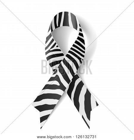Zebra - print ribbon as symbol of rare-disease awareness Ehlers-Danlos syndrome