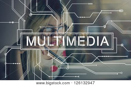 Multimedia Content Digital Communication Concept