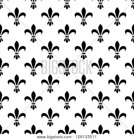 Fleur de lis seamless vector pattern. French vintage stylized lily flower luxury royal symbol. Monarchy iris sign black on white.