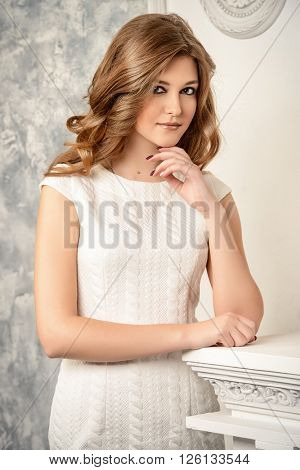 Beautiful tender young woman with magnificent long wavy hair. Bride portrait. Wedding. Beauty, fashion. Cosmetics.