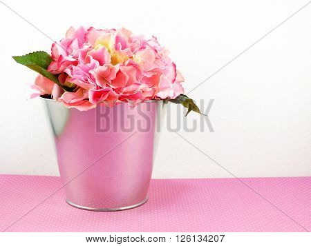 beautiful artificial pink Hydrangeas flowers bouquet on white background