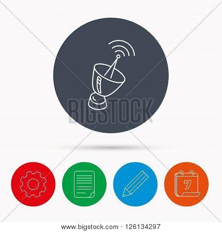 Antenna icon. Sputnik satellite sign. Radio signal symbol. Calendar, cogwheel, document file and pencil icons.