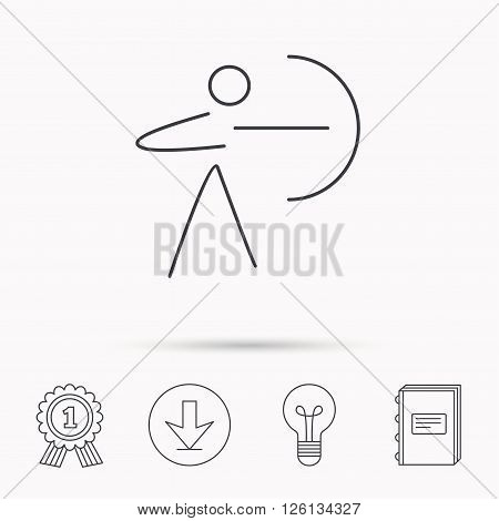 Archery sport icon. Archer with longbow sign. Aiming or targeting symbol. Download arrow, lamp, learn book and award medal icons.