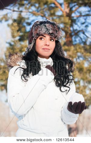 A Young Beautiful Girl On A Walk In A Winter Park, Winter, Snow, Forest.