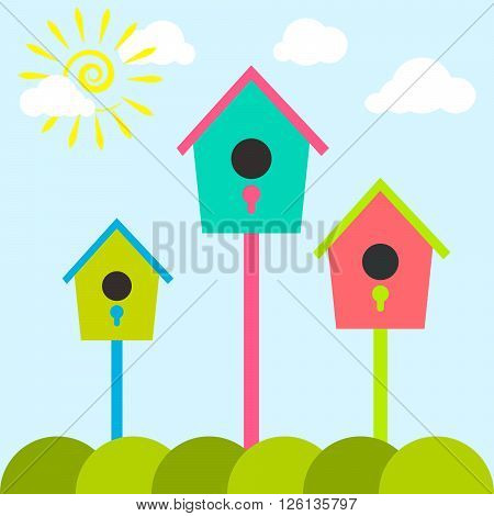 Nesting box cartoon set. Meadow with colorful bird houses. Nesting houses for birds and spring sun, flat cartoon style.