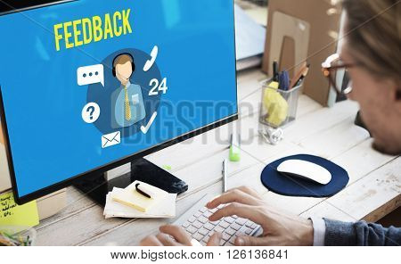 Feedback Evaluation Review Contact Customer Support Concept