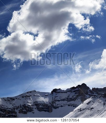 Snowy Mountains In Sun Evening