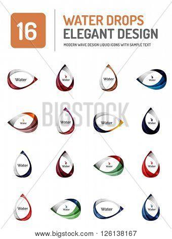 Vector water elegant symbol set, icon collection, liquid concept