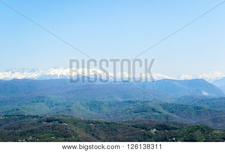 View from the lookout tower on mount Akhun of the Caucasus mountains, Adler district, Krasnodar region, Sochi, Russia.