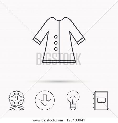 Cloak icon. Protection jacket outerwear sign. Gardening clothes symbol. Download arrow, lamp, learn book and award medal icons.
