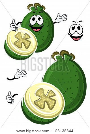 Ripe flavorful cartoon australian feijoa fruit with dark green waxy peel and wavy flower cup on the top. Cheerful tropical fruit character design for recipe book, exotic cocktail, vegetarian food theme design
