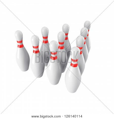 Group of Bowling Pins Isolated on White Background without shadow. 3D rendering. 3d render. For logo, advertising, wallpaper, print etc. side  view with perspective