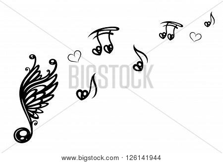 Music notes with clef, wings and love.