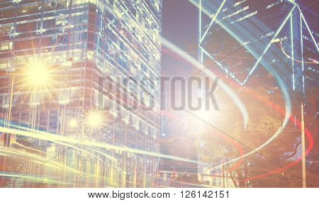 Night View of Blurry Lights in a City Concept