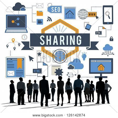 Sharing Online Networking Connection Concept