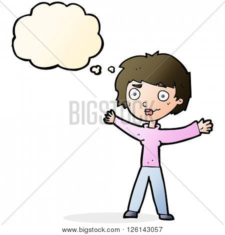 cartoon woman waving arms with thought bubble