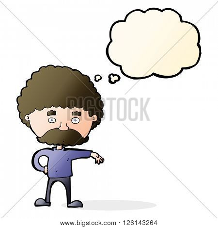 cartoon man with mustache making camp gesture with thought bubble