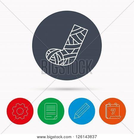 Gypsum or cast foot icon. Broken leg sign. Human recovery medicine symbol. Calendar, cogwheel, document file and pencil icons.