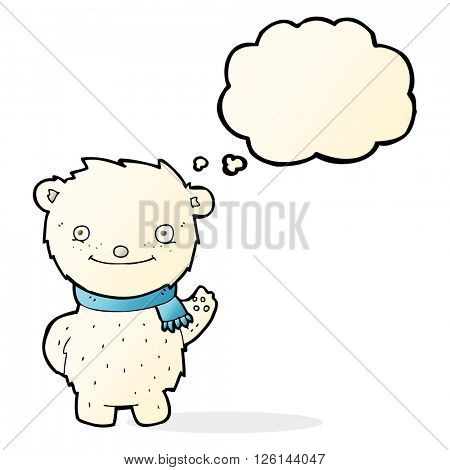 cartoon cute polar bear with thought bubble