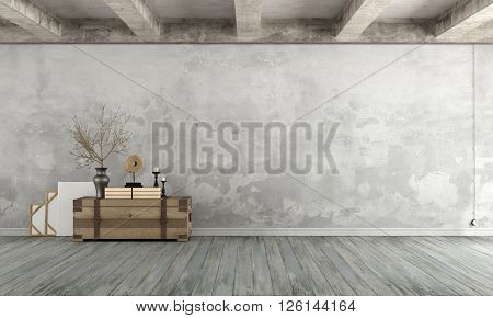 Grunge Living room with old wall wooden chest on floor and concrete beams - 3d Rendering