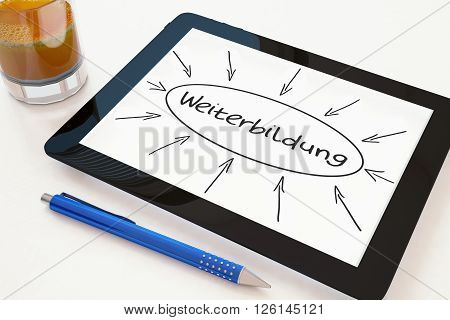 Weiter bildung - german word for further education - text concept on a mobile tablet computer on a desk - 3d render illustration.