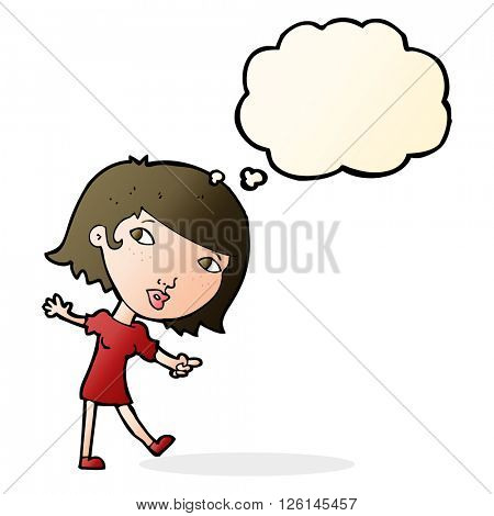 cartoon happy girl gesturing to follow with thought bubble