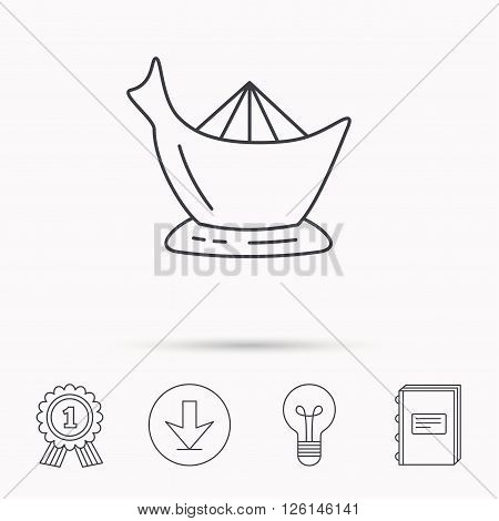 Juicer icon. Squeezer sign. Kitchen electric tool symbol. Download arrow, lamp, learn book and award medal icons.