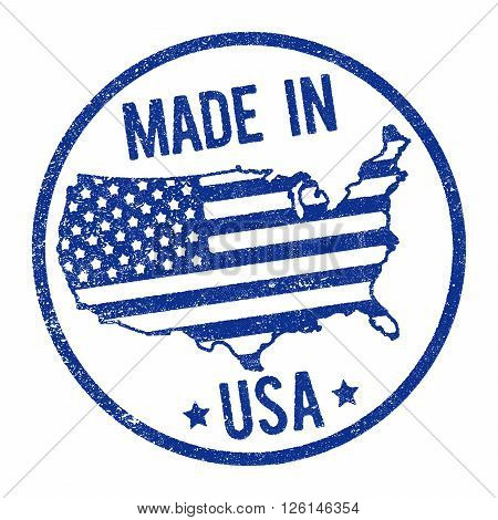 Made in USA stamp with map and flag