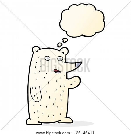 cartoon waving polar bear with thought bubble