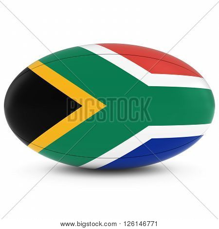 South Africa Rugby - South African Flag On Rugby Ball On White