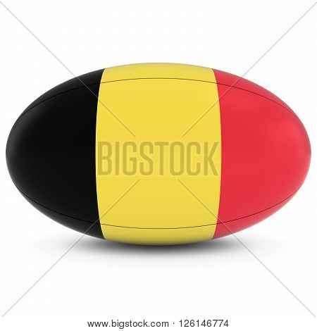 Belgium Rugby - Belgian Flag On Rugby Ball On White
