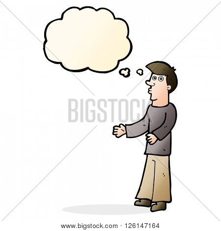 cartoon curious man with thought bubble
